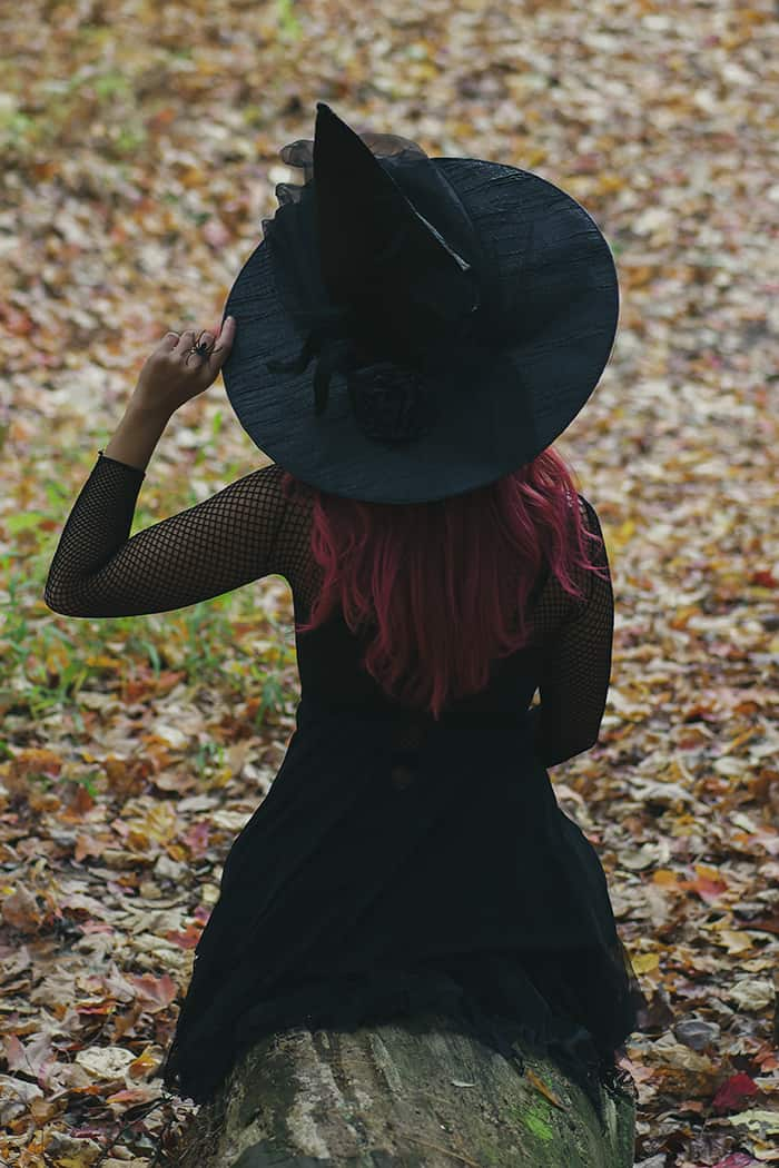 Witch Names - Woman in Black Hat in Forest