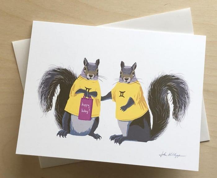 Gemini Zodiac Sign Gift Ideas - Squirrel Birthday Card